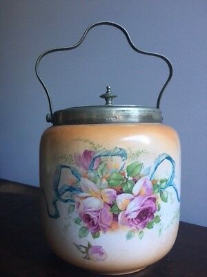Antique Biscuit Barrel With Lid