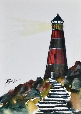 ACEO Original Art Watercolour Painting by Bill Lupton - Steps to Lighthouse