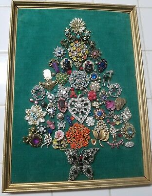 Buy It Now Vintage Costume Jewelry Framed Christmas Tree Picture