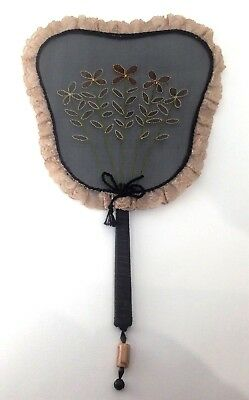 Antique embroidered flat hand fan with jet and Dzi beads
