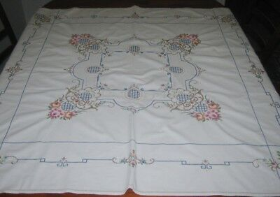 Vintage Hand Embroidered Tablecloth/cutter ~ Square