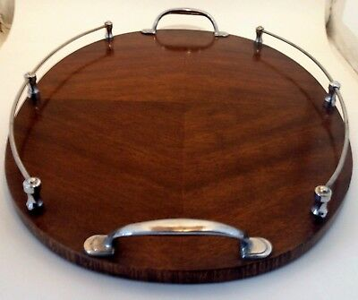 Art Deco style 50's wood veneer and crome serving tray by Fecla 35.5cm x 50cm