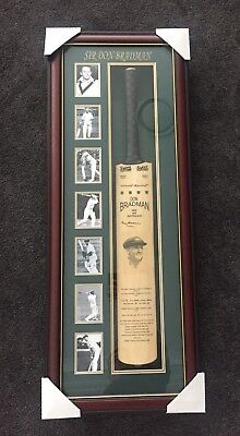 signed sir don bradman framed bat with coa autographed