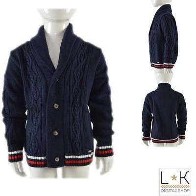 Cardigan Misto Lana Con Collo Smooking Ragazzo Blue Dr.kids