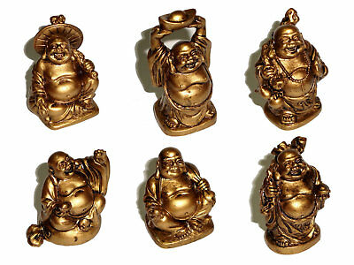 LAUGHING BUDDHA Statues Figurines - Set of 6 - Golden