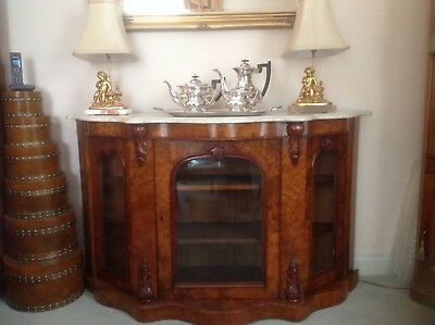 """Credenza. Marble topped. Walnut. Three cupboards.Not sure of age.56"""" long X 16"""""""