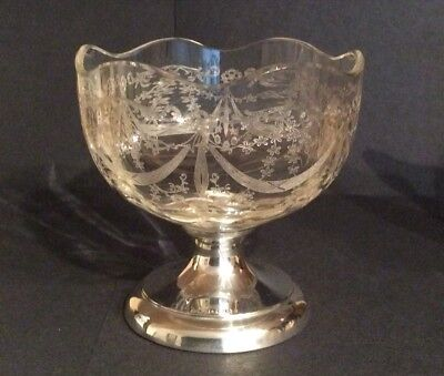 Stunning And Antique Victorian Etched Glass Dish Bowl Birmingham 1894/5