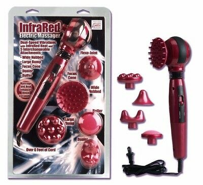 Powerful Infrared Electric Massager Wand with 5 Interchangeable Attachments