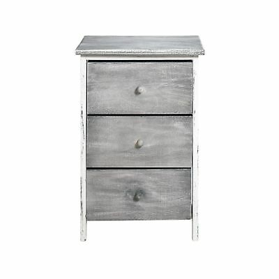 Rebecca srl Bedside Table Chest of Drawers 3 Drawers NATURAL Wood White Grey ...