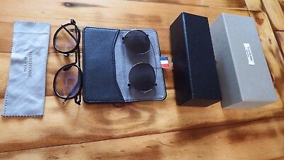 Thom Browne Round  Black Iron Clip Sunglasses Grey Lens - New With Case