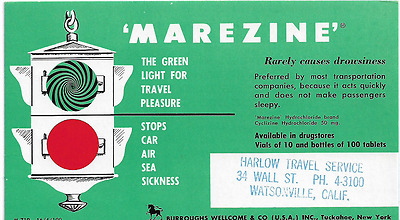 c1950 Advertising Blotter Watsonville CA Travel Agency Marezine Motion Sickness