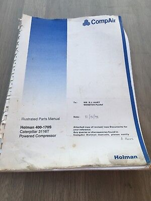 Compair Holman 400-170S Cfm Portable Air Compressor  Cat 3116T   Parts Manual