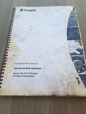 COMPAIR HOLMAN 25-5kw SUPERGAS PORTABLE AIR COMPRESSOR  ILLUSTRATED PARTS LIST