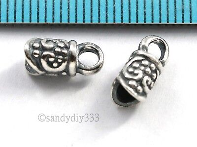 2x BALI STERLING SILVER FLOWER LEATHER CORD 3mm TUBE END CAP CONNECTOR #2847
