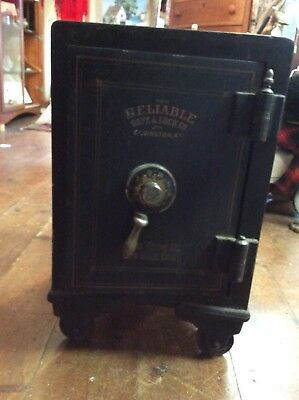 Antique Small Safe  Open W Combination Reliable Adkins New Britain Conn