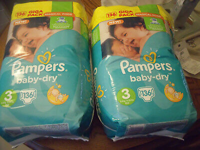 Couches Pampers Baby Dry - Taille 3 / 4-9 Kg -  pack de  272 couches