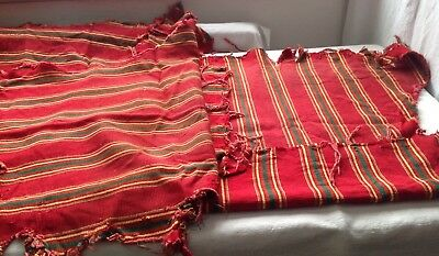 Vintage Corduroy Fabric Red Yellow Green Stripes French Upholstery 3pc Remnants