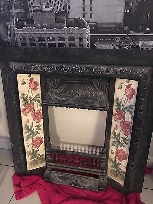 Stunning Victorian Cast Iron Fireplace With Detailed Tiling 39x39 Must See