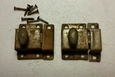 Pair Vintage antique metal cabinet cupboard latch with catch (#8) - D 21 ANTIQUE Cast-Iron Painted Sheet Metal Cabinet Latch - $9.00