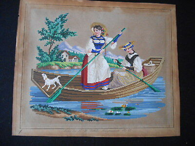 ANTIQUE BERLIN woolwork pattern # 43 L M WITTICH 2 ladies on boat  dog mountains