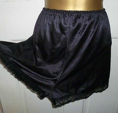 Vintage St Michael Black Silky Semi Sheer Nylon French Cami Knickers Size 12-14