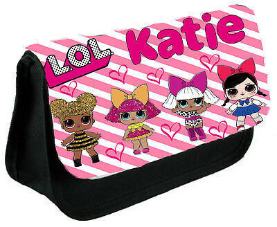 Personalised GILS LOL DOLLS Kids School Black Pencil Case/Make Up Bag