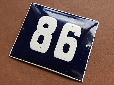 ANTIQUE VINTAGE ENAMEL SIGN HOUSE NUMBER 86 BLUE DOOR GATE STREET SIGN 1950's
