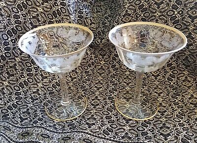 2 Morgantown #727 Victoria Champagne Glasses 1920's Gold rimmed - Lilypad etched
