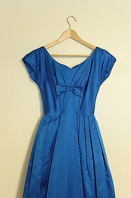 Vintage 1950s Blue Satin Dress Tea Length Sweetheart Neck Wedding New Years Eve