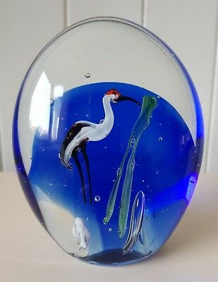 CRANE GLASS PAPERWEIGHT, BLUE BACKGROUND, APPROX 11.5cm TALL, BRAND NEW