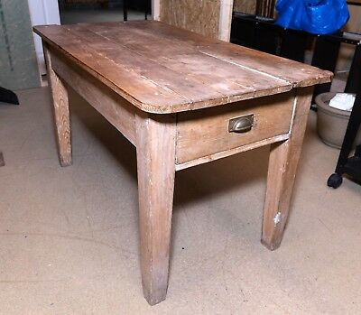 Utility rustic table or workbench with drawers and brass handles