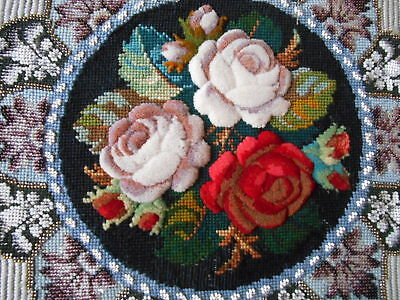 Antique English Plushwork bead and wool embroidery ROSES!
