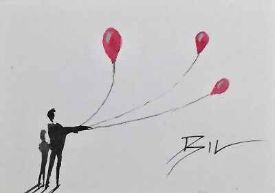 ACEO Original Art Watercolour Painting by Bill Lupton - Three Red Balloons