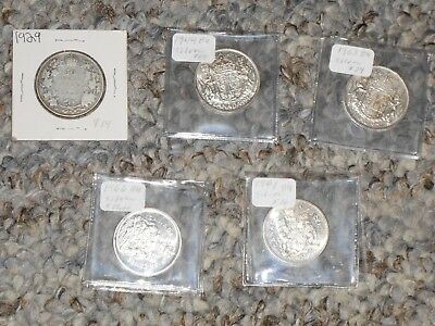 5 Coin Lot Canadian Canada Silver 50 Cents Half Dollars 1929 1944 1953 1961 1966