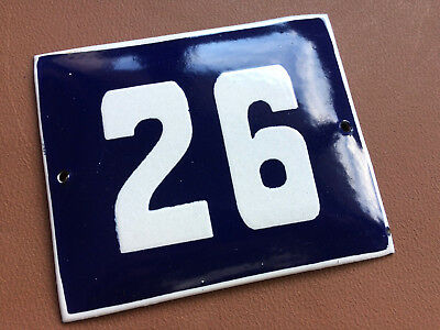 ANTIQUE VINTAGE ENAMEL SIGN HOUSE NUMBER 26 BLUE DOOR GATE STREET SIGN 1950's