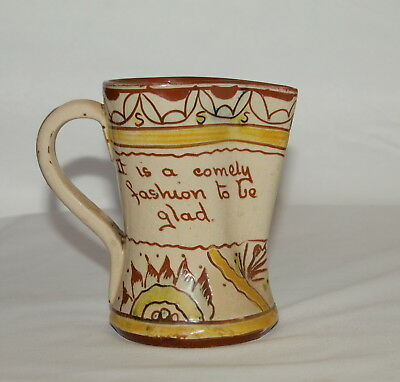 C19th ALLER VALE TORQUAY JUG WITH INCISED & PAINTED DECORATION: Joy is the grace