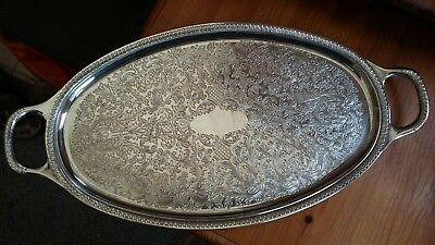 silver plate tray with floral pattern