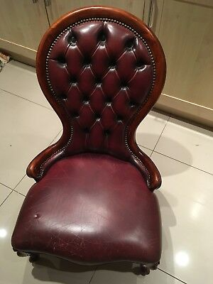 Antique Leather Chair retro Ox Blood red