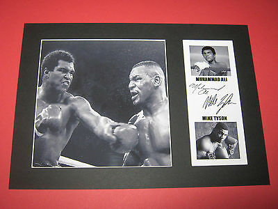 Muhammad Ali & Mike Tyson Boxing A4 Photo Mount Signed Reprint Autographs
