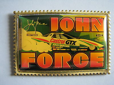 "John Force Castrol Gtx Funny Car ""postage Stamp"" Nhra Drag Racing Hat Pin"