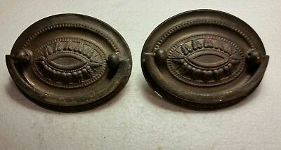 Nice pair vintage antique oval brass drawer pulls handles  (#12HA)
