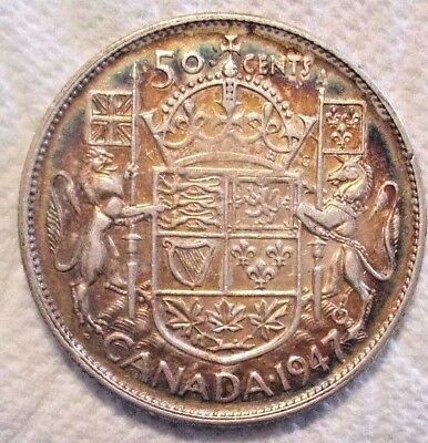 1947 Canada 50 Cents KM# 36 .800 Silver Coin Nice Detail 7 Looks Curved