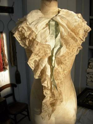 Antique French silk & Valenciennes lace collar fichu w. silk ribbons