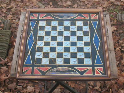 Vintage Butterfly Wing Checkerboard Art Deco Style Reverse Painted Glass Rio