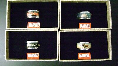 Marvel Comics Men's Rings Thor Captain America Spiderman Wolverine set of 4