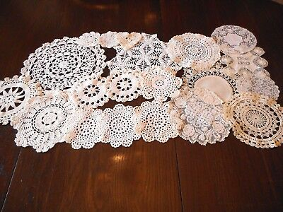 Lot of 20 Hand Crocheted Doilies Variety of Sizes