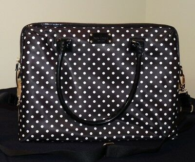 Kate Spade New York Spot Nylon Calista Laptop Bag Case Black & White Polka Dot