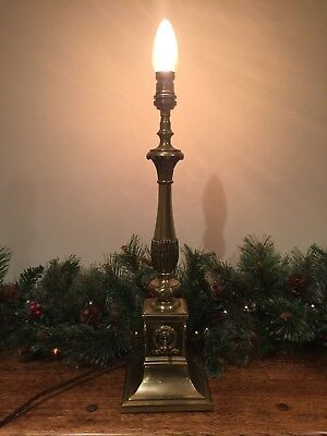 Quality Cast Brass Antique Edwardian Corinthian Column Lamp.