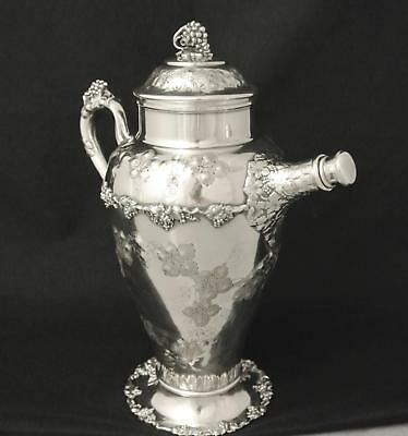 Victorian Silver Plate Hand Chased Grape Design Cocktail Shaker Ewer Pitcher Jug
