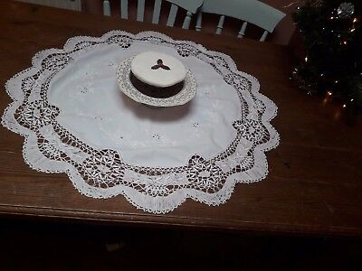 Vintage Victorian White Cotton Circular Tablecloth Hand Embroidery Lace